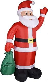 Monzana Papá Noel hinchable 180x120cm Decoración Navideña Muñeco inflable de Navidad con Bomba eléctrica Iluminación LEDs