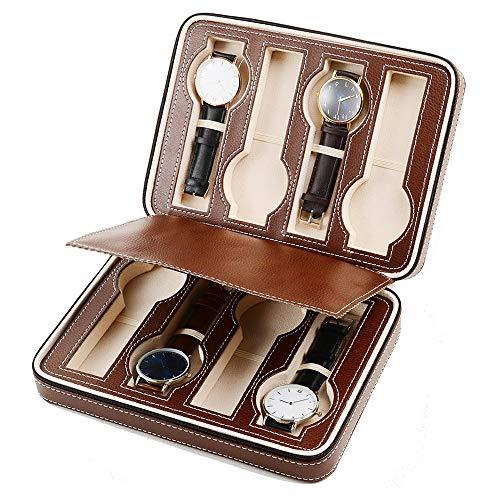 HO-TBO Uhrengehäuse Zipper-Uhr-Storage Box Schmuck-Vitrine for Männer und Frauen Brown 8 Grids Thanksgiving-Männer Geschenk (Color : Brown, Size : 24x18x6cm)