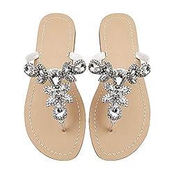White Glass Rhinestone Flat Flip Flop Sandal