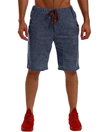 MODCHOK Homme Shorts Bermuda Pantacourt Jogging Sport Poches Casual Taille Élastique (3XL, Bleu Foncé 2)