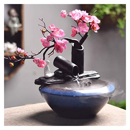 Fuente de Interior Fuentes de interior Zen cerámica interior fuente afortunado feng shui rueda tabletop fuentes fluyendo agua escritorio fuente regalos dormitorio hogar relajación Decoración del hogar