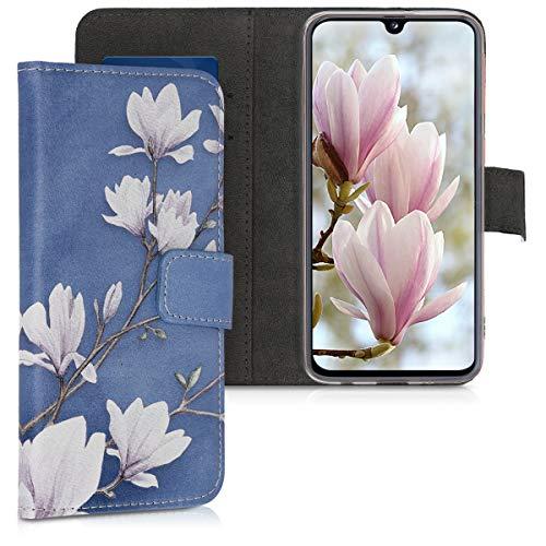 kwmobile Custodia Compatibile con Samsung Galaxy A40 - Cover Magnetica Portafoglio con Stand in Simil Pelle - Custodia Case Porta Carte - Magnolie Marrone Grigio/Bianco/Grigio Blu