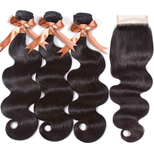 "Brazilian Human hair Body Wave 3 Bundles with Closure(14 16 18+12""Closure) 100% Unprocessed 9A Grade Virgin Human Hair Lace Closure 4×4 Free Part Natural Black Brazilian Hair"