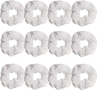GUVASS 12 Pack Hair Scrunchies White Velvet Elastics Scrunchy Bobbles Soft Hair Bands Hair Ties