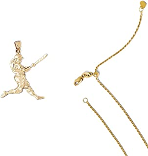 14K Yellow Gold Baseball Player Pendant on an Adjustable 14K Yellow Gold Chain Necklace