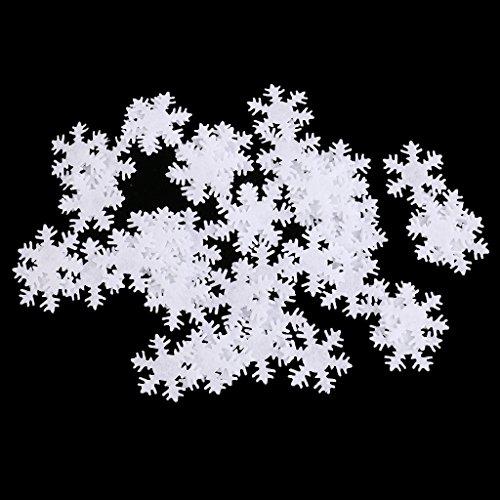 FLAMEER 50x Filz Schneeflocken Applikation Patches Aufnäher zum Nähen und Bügelbilden