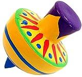 Guru-Shop Bunter Holzkreisel Breit - Modell 2, Mehrfarbig, 9x8x8 cm, Spiele aus Filz, Holz -