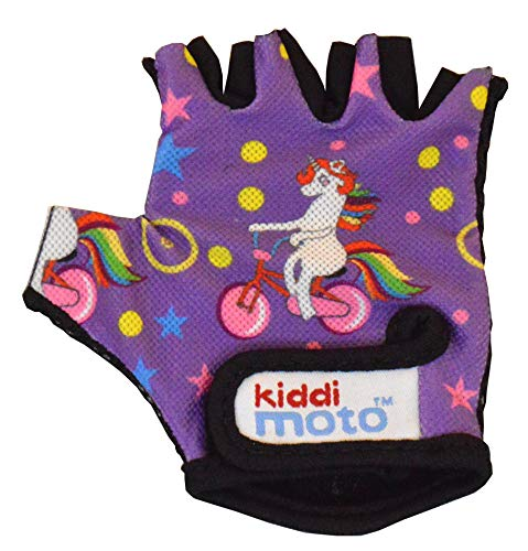 KIDDIMOTO Guantes de Ciclismo sin Dedos para Infantil (niñas y niños) - Bicicleta, MTB, BMX, Carretera, Montaña - Unicornio - Talla: S (2-5 años)