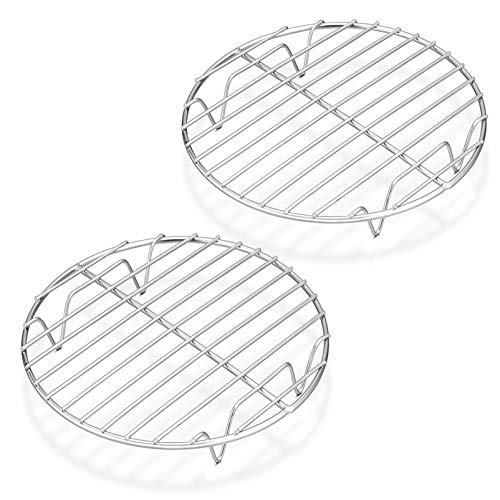 2 PACK 7½-Inch Round Rack, Fit Air Fryer, Pressure Cooker. Stainless Steel, Oven & Dishwasher Safe