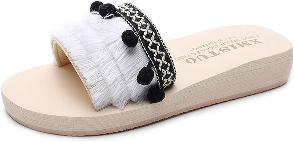 MIOKE Women's Fringe Flat Slide Sandals Fashion Bohemian Comfort Platform Anti-Slip Summer Beach Sandals