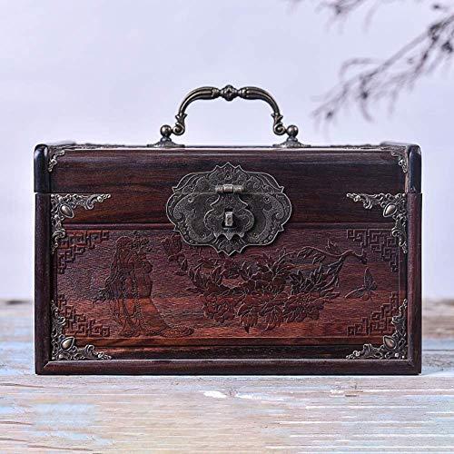 ALIANG Cajas de joyería, Organizador de Caja de joyería de Madera, Hecho a Mano, Multiusos, con Anillo, Collar, Caja de Almacenamiento de Regalo, Organizador