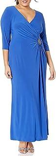 Alex Evenings Women's Plus Size Long Knot Front Dress