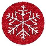 WanXingLiHe Kits de Gancho de Gancho de Forma Redonda DIY Kits de Hilo de Crochet de Bricolaje Cojín Rojo Alfombra Decoración para el hogar (diámetro: 20in),Rojo,20 in