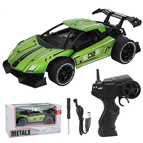 FOLOSAFENAR Coche de Alta Velocidad con Control Remoto 1/16 - RC Drift Sports Racing Cars Simulación inalámbrica Coche RC electrónico - Gran Regalo para niños(Verde)
