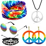 SPECOOL Conjunto de Disfraces Hippie Accesorios Hippie Collar y aretes Rainbow Peace Pulsera Rainbow Headband Gafas de Sol Estilo años 60 Halloween Hippy Dress Up para la Fiesta temática de los años