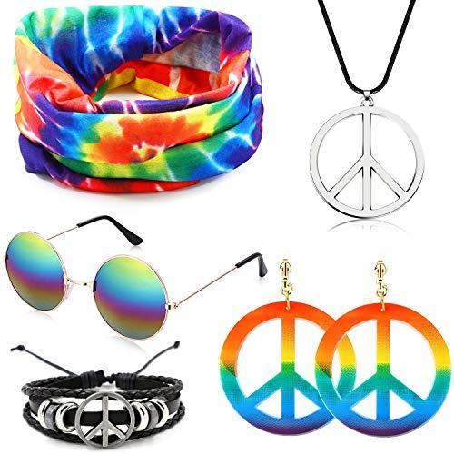 specool Hippie Kostüm Set Hippie Accessoires Regenbogen Friedenszeichen Halskette Ohrringe Armband Stirnband 60er Jahre Sonnenbrille Halloween Hippie Dress Up für 60er Jahre 70er Jahre Mottoparty