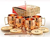 Solid Copper Mugs - Set of 4 (Gift Set) 16 Oz - Copper Hammered Mugs – 100% Handicrafted - Mugs - Copper Mugs - Copper Cups With BONUS Copper Straws & Coasters by Copper Cure