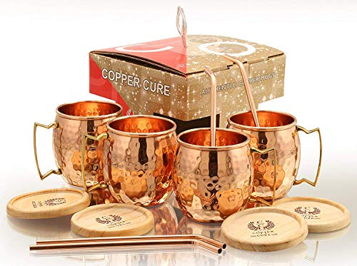Solid Copper Mugs - Set of 4 (Gift Set) 16 Oz - Copper Hammered Mugs - 100% Handicrafted - Mugs - Copper Mugs - Copper Cups With BONUS Copper Straws & Coasters by Copper Cure