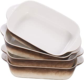 Hoxierence 20 Oz Ceramic Baking Dishes, 7.5L x 5.7W Inch Stone Embossed Pattern Bakeware with Double Handles, Individual R...