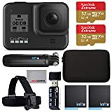 GoPro Hero 8 Action Camera with 2 Total Batteries, Two Sandisk 32GB Extreme MicroSD Cards, GoPro Shorty Tripod, Head Mount Strap, Camera Case, Card Reader and Cleaning Cloth