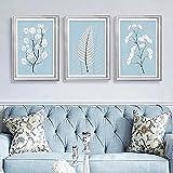 SNGTOW Simplicidad nórdica Hojas Blancas Lienzo Pintura Fondo Azul Claro Colgante Arte de la Pared Decoración Póster para Sala de Estar Dormitorio   40x60cmx3 Sin Marco