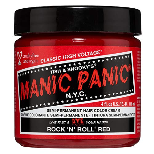 Manic Panic Rock N Roll Hair Dye – Classic High Voltage - Semi Permanent Hair Color - Warm, Vibrant Red Shade - Vegan, PPD & Ammonia Free - For Coloring Hair on Men & Women