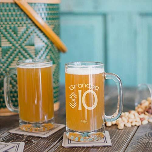 Taza de cerveza con diseño de abuelo de personalización (solo uno) divertido vaso de vino sin tallo, grabado con láser, vaso de chupito personalizado, 473 ml