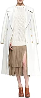 Carmonoudi uk Winter Women Woolen Over The Knee Long White Lapels Trench Coat
