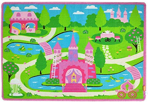 HUAHOO Pink Girls Bedroom Rugs Cartoon Castle Kids Rug Bedroom Floor Rugs Nylon Cartoon Kids Living Room Carpet (80x120cm(31.5''x47''))