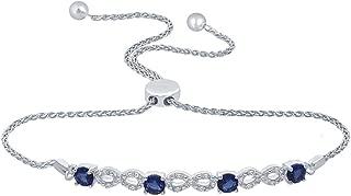 Round White Natural Diamond Created Blue Sapphire Infinity Bolo Strand Bracelet for Teens Womens