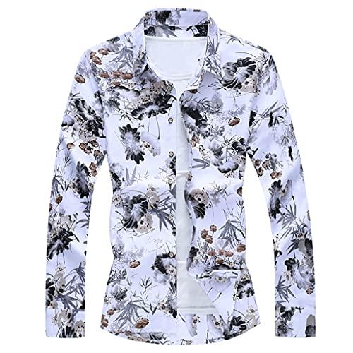 SLATIOM Moda para hombre Otoño Primavera Ropa Camisa Manga larga Playa Hawaiana Camisa floral informal para...