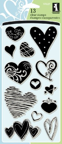 Inkadinkado Hearts Clear Stamp Set for Arts and Crafts, 13pc