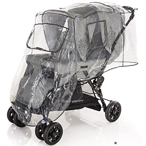Regenschutz für Geschwisterwagen (Kinder sitzen hintereinander) • Zwillings-Kinderwagen Universal Regenhülle Buggy Abdeckung Regen