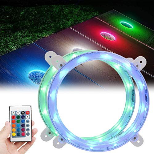 Cornhole LED Lights, Ultra Bright 12 LEDs Board Corn Hole Light, Multicolor Changing with Remote Control Board Ring Lights, Easy Mounting, Light up Your Outdoor Backyard Bean Bags Toss Game (2 Sets)