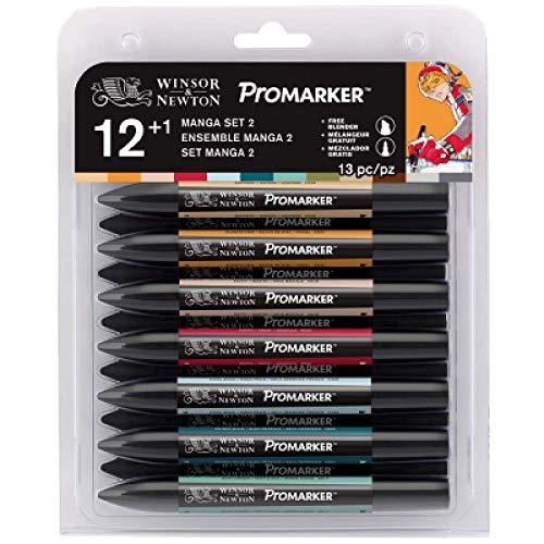 Winsor & Newton Marcador Promarker Manga Ensemble Set 2 12+ Blender, 12 Cores