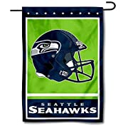 "12.5"" x 18"" in Size with Top Pole Sleeve for hanging from your Garden Flag Stand (Stands Sold Separately) Made of Double Sided 2-Ply 100% Polyester with Sewn-In Liner, Double Stitched Perimeter Sewing, Imported Seattle Seahawks Logos are Screen Print..."