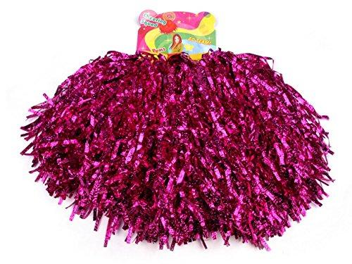 Schnoschi 2 Stück Pompons Cheerleading Cheerleader Tanzwedel Puschel 1 Paar viele Farben (Pink)