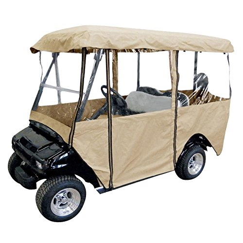 Popsport 4 Passenger Water Proof Golf Cart Enclosure Travel 4-Sided Flat Top Golf Car Cover Fits Most Four-Person Golf Carts EZGO Club Car Yamaha (for Golf Cart)