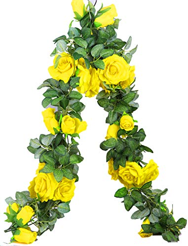 LNHOMY 13 FT Artificial Rose Vine Flowers Fake Rose Garland Flower Silk Hanging Ivy Plants for Home Wedding Party Garden Arch Garden Wall Décor,2 Pack, (Yellow)
