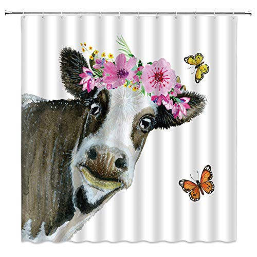 BSTDS Watercolor Cow Shower Curtain Milk Cow Head Flower Butterfly Funny Farmhouse Animal Creative Pink Tan White Bathroom Curtains Decor Polyester Fabric Quick Drying 70x70 Inches Include Hooks