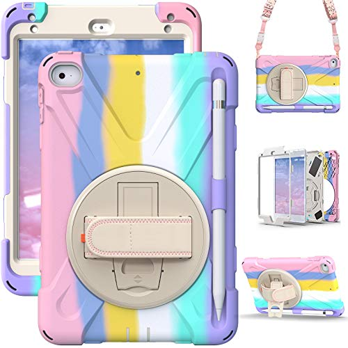 TSQ iPad Mini Case 5th Generation w/Pencil Holder 2019   iPad Mini 5/4 Case for Kids Girls Colorful Cute   Rugged Shockproof Case Cover w/Stand Handle Strap for iPad Mini 5th 4th Gen   Rainbow Pink