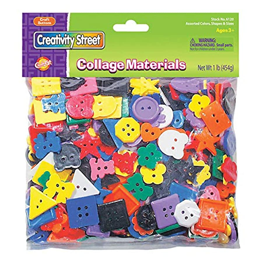 Chenille Kraft CK-6120 Each Bag Contains One Pound of Plastic Buttons in Assorted Shapes, Sizes and Colors, 1.38