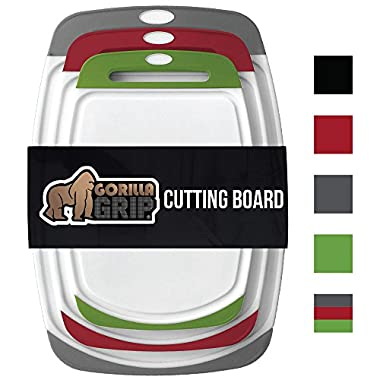 GORILLA GRIP Original Reversible Cutting Board (3-Piece Set) for Kitchen, BPA Free, Easy Grip Handle, Dishwasher Safe, Non-Porous, Boards are Extra Large and Thick, Juice Grooves (Set of Three: Multi)