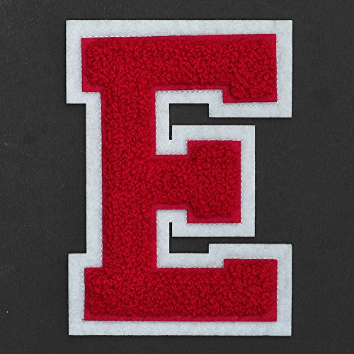 Letter E - Chenille Stitch Varsity Iron-On Patch by pc, 4-1/2', Red/White, TR-11648