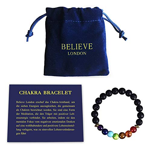 Believe London Chakra Bracelet with Jewellery Bag & Meaning Card Adjustable Bracelet Fits All Wrists 7 Chakra Natural Stone Healing Reiki Yoga