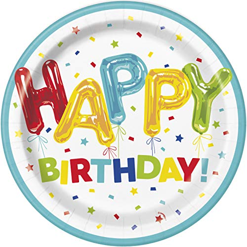 Unique Party 73105 - 23cm Happy Balloon Birthday Paper Plates, Pack of 8