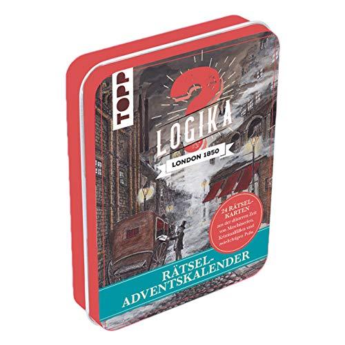Rätsel-Adventskalender - Logika London 1850: 24 Rätselkarten aus der düsteren Zeit von Maschinerien, Kriminalfällen und zwielichtigen Pubs. Mit ... 24 Stickern. Metalldose ca. 15 cm x 10,5 cm