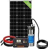 DCHOUSE Kit de bomba de agua, bomba de agua solar de acero inoxidable + panel solar de 120 W + controlador de carga de pantalla LCD de 20 A + cable de 10 pies