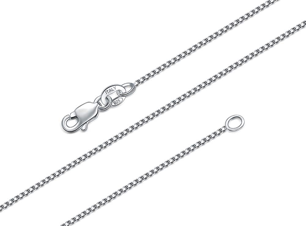 BORUO 925 Sterling Silver Box Chain Necklace, 1mm 1.5mm Solid It