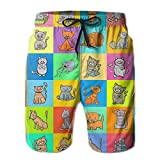 Cats Cartoon Characters Men Swim Trunks Drawstring Elastic Waist Surfing Beach Board Shorts with Mesh Lining XL